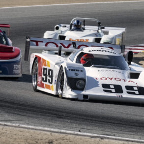 Late Saturday sun lights Robert Kauffman's 1990 AAR Toyota Eagle HF00 2143 as he accelerates out of turn five. ©2021 Dennis Gray