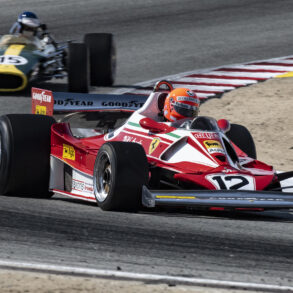 The ex-Lauda 1976 Ferrari 312T2 3000 driven by Chris McAllister and the ex-Jimmy Clark 1967 Lotus 49 3000 driven by Alex MacAllister. Thanks are due to Chris McAllister and the Masters series for bringing these two cars. Chris Liebenberg in his 19991 Roush Mustang 358 in turn five. ©2021 Dennis Gray