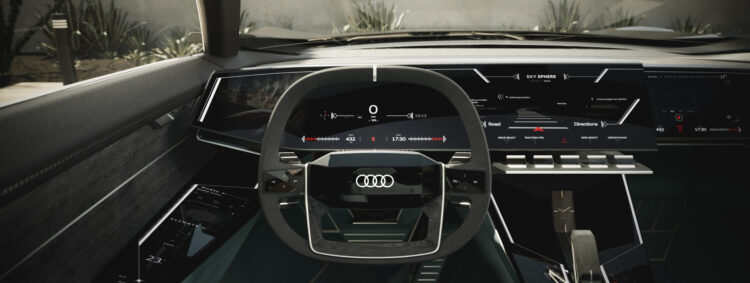 Audi skysphere concept dashboard with wheel