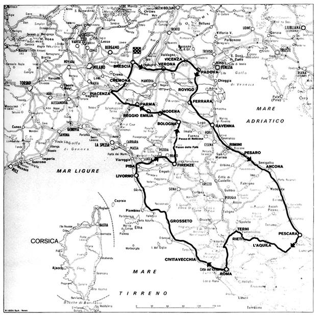 1950 Mille Miglia Route