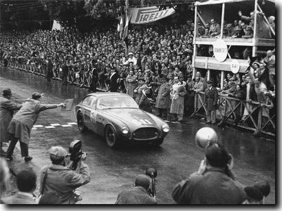 Giovanni Bracco drivimg Ferrari 250S to victory in 1952 Mille Miglia