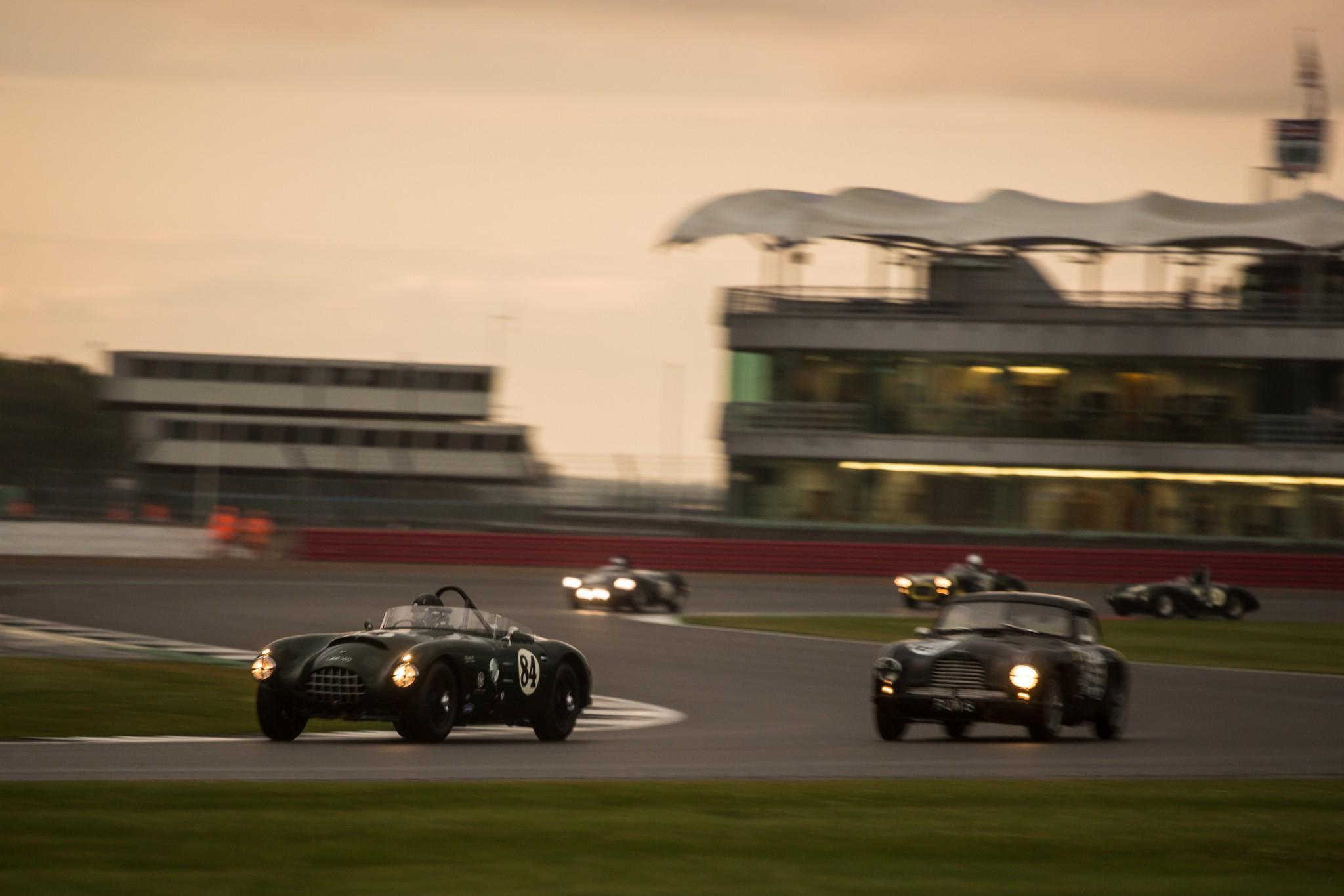 Post War Sportscars racing into the night on Saturday