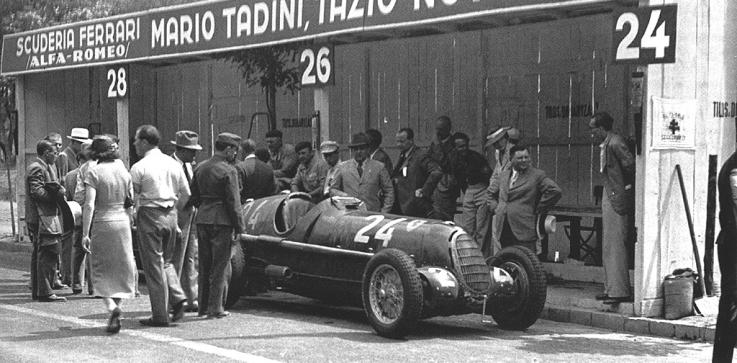 Scuderia Ferrari pits - 1936 Hungarian Grand Prix