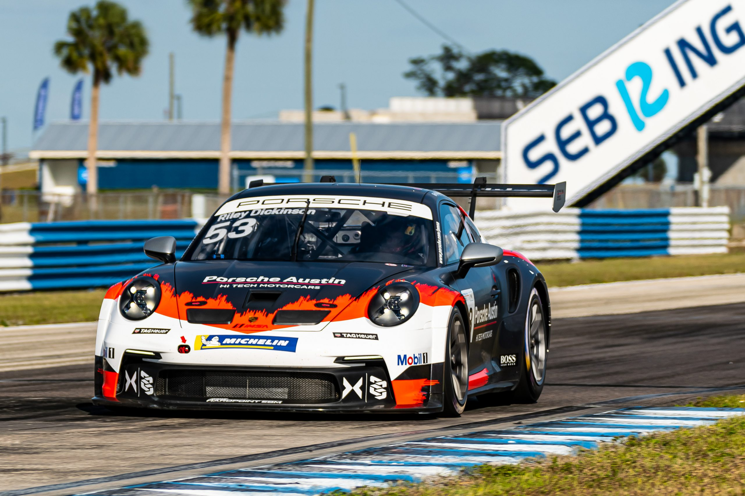 No. 53 Team Hardpoint-EBM, Porsche 911 GT3 Cup, Riley Dickinson