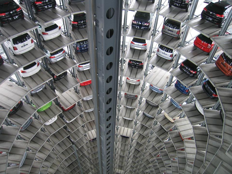 High tech parking garage with elevators