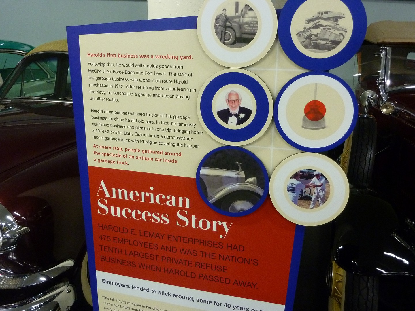 Exhibit poster talking about Harold LeMay's history