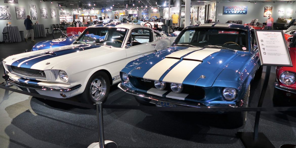 Cars on display in The Cobra Experience